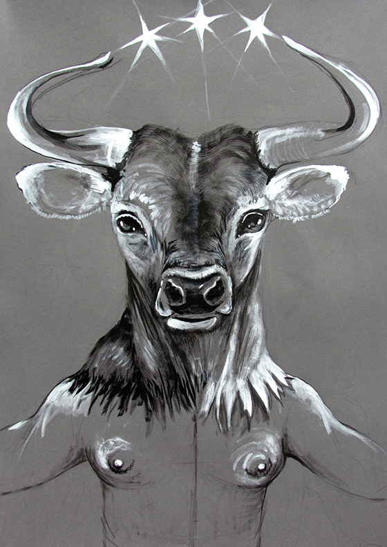 Liz Downing drawing, Venus, The Great Horned Bull