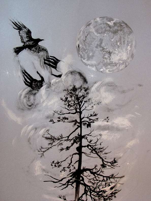 Liz Downing drawing,  Hands Do the Moons Bidding