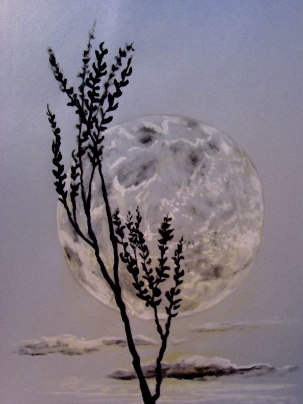 Liz Downing drawing, Leaning Moon