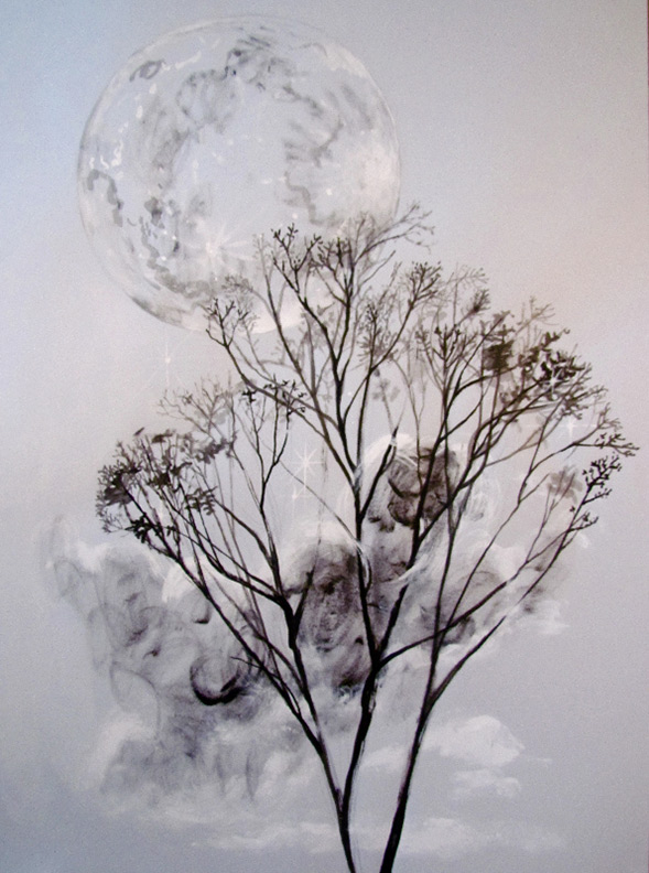 Liz Downing drawing,  Moon in the Maple