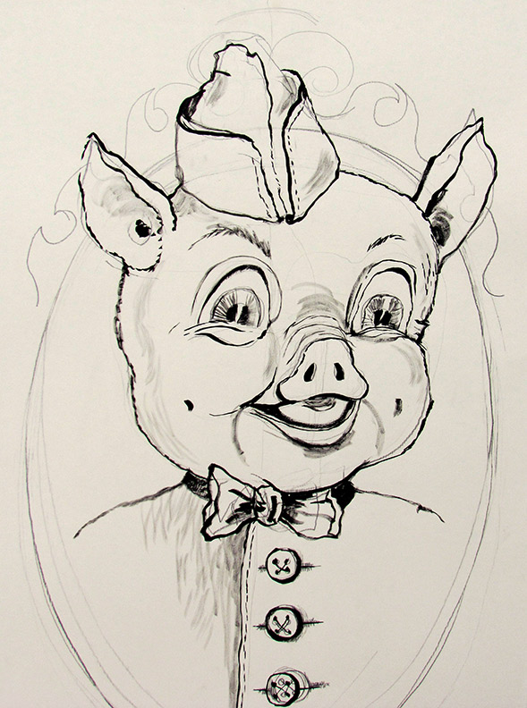 Liz Downing drawing, Piggly Wiggly