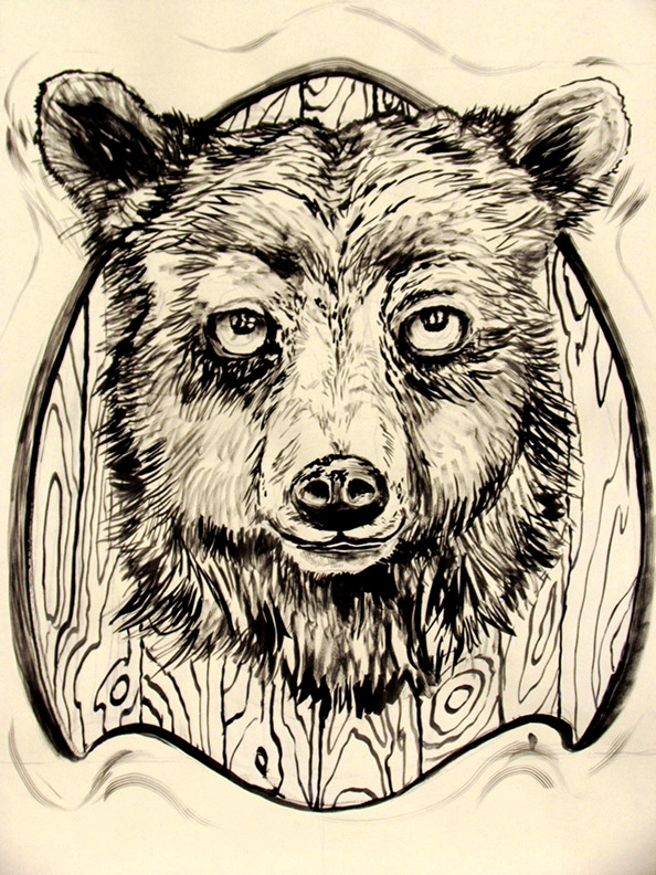 Liz Downing drawing, Taxidermied Bear