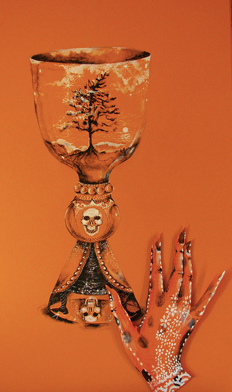 Liz Downing drawing, Hand And The Chalice