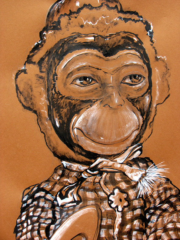Monkey Wind Up Toy Brown