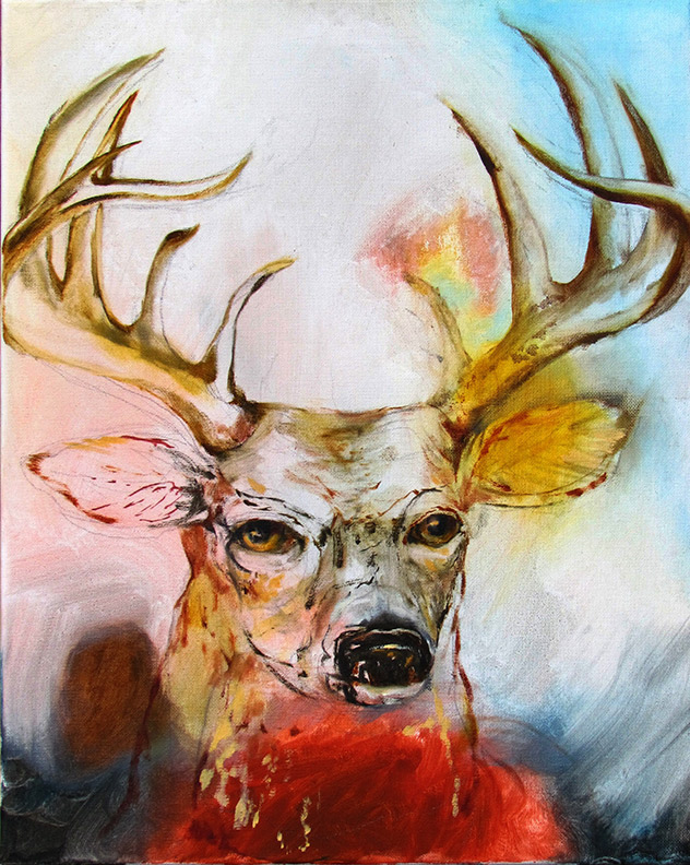 Liz Downing painting, August Deer on Pink
