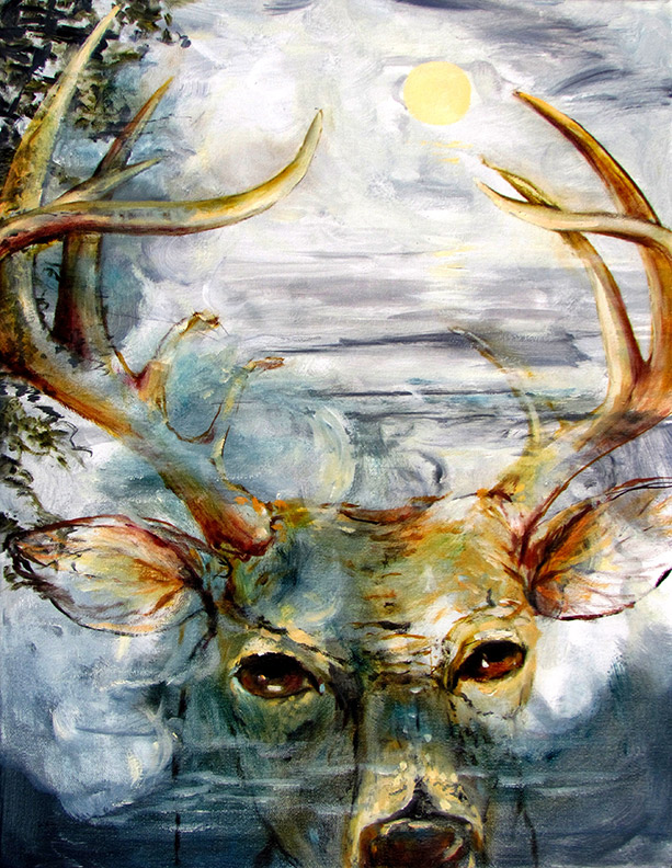Liz Downing painting, August Deer Reflection