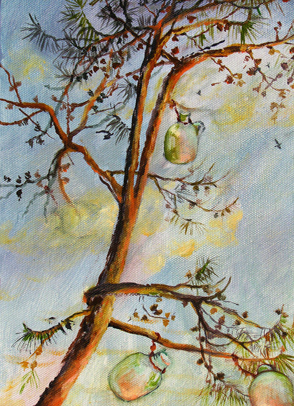 Liz Downing painting, Bottle Tree, Arching Virginia Pine