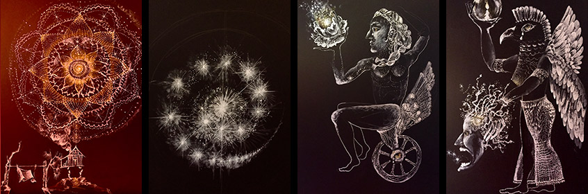 Liz Downing drawings gallery, Gouche, Ink and Colored Pencil on Black Paper
