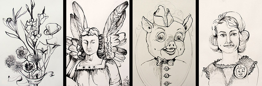 Liz Downing drawings gallery, The Living Stuffed Animal and Crankie Series
